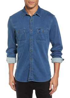 Nordstrom Men's Shop Trim Fit Utility Wash Knit Denim Shirt