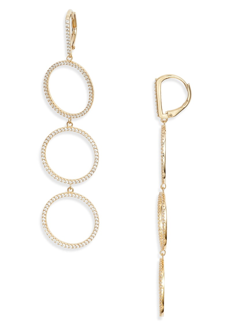 Nordstrom Pavé Open Circle Linear Drop Earrings