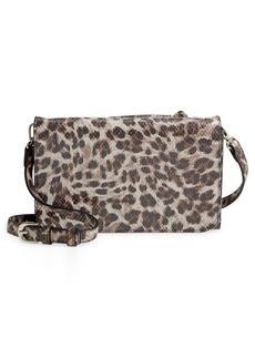 Nordstrom Ronan Animal Print Leather Crossbody Bag - Grey