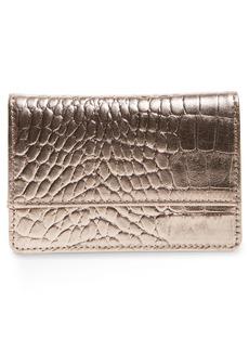 Nordstrom Ruby Croc Embossed Leather Cardholder