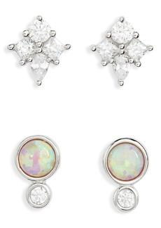 Nordstrom Set of 2 Opal & Cubic Zirconia Stud Earrings