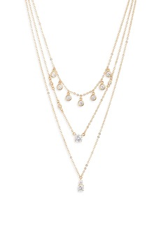 Nordstrom Shaker Crystal Triple Strand Necklace