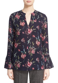 Nordstrom Signature and Caroline Issa Floral Print Silk Blouse
