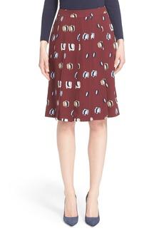Nordstrom Signature and Caroline Issa Oval Print Pleated Silk Twill Skirt