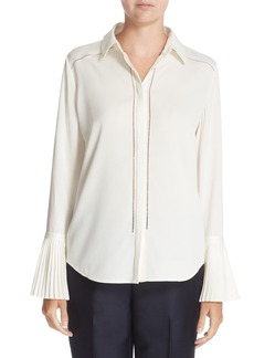 Nordstrom Signature and Caroline Issa Pleated Cuff Silk Blouse