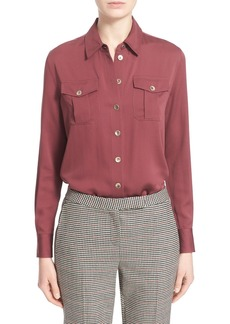 Nordstrom Signature and Caroline Issa Silk Twill Blouse