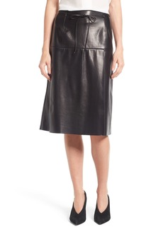 Nordstrom Signature Belted Leather A-Line Skirt