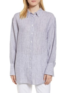 Nordstrom Signature Button Back Stripe Linen Shirt