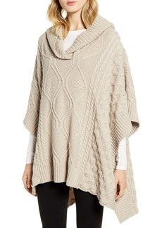 Nordstrom Signature Cable Hooded Cashmere Poncho