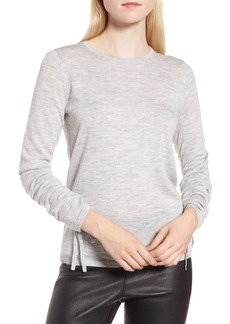 Nordstrom Signature Cashmere Ruched Sleeve Pullover
