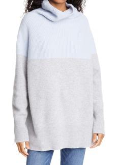 Nordstrom Signature Colorblock Funnel Neck Cashmere Sweater
