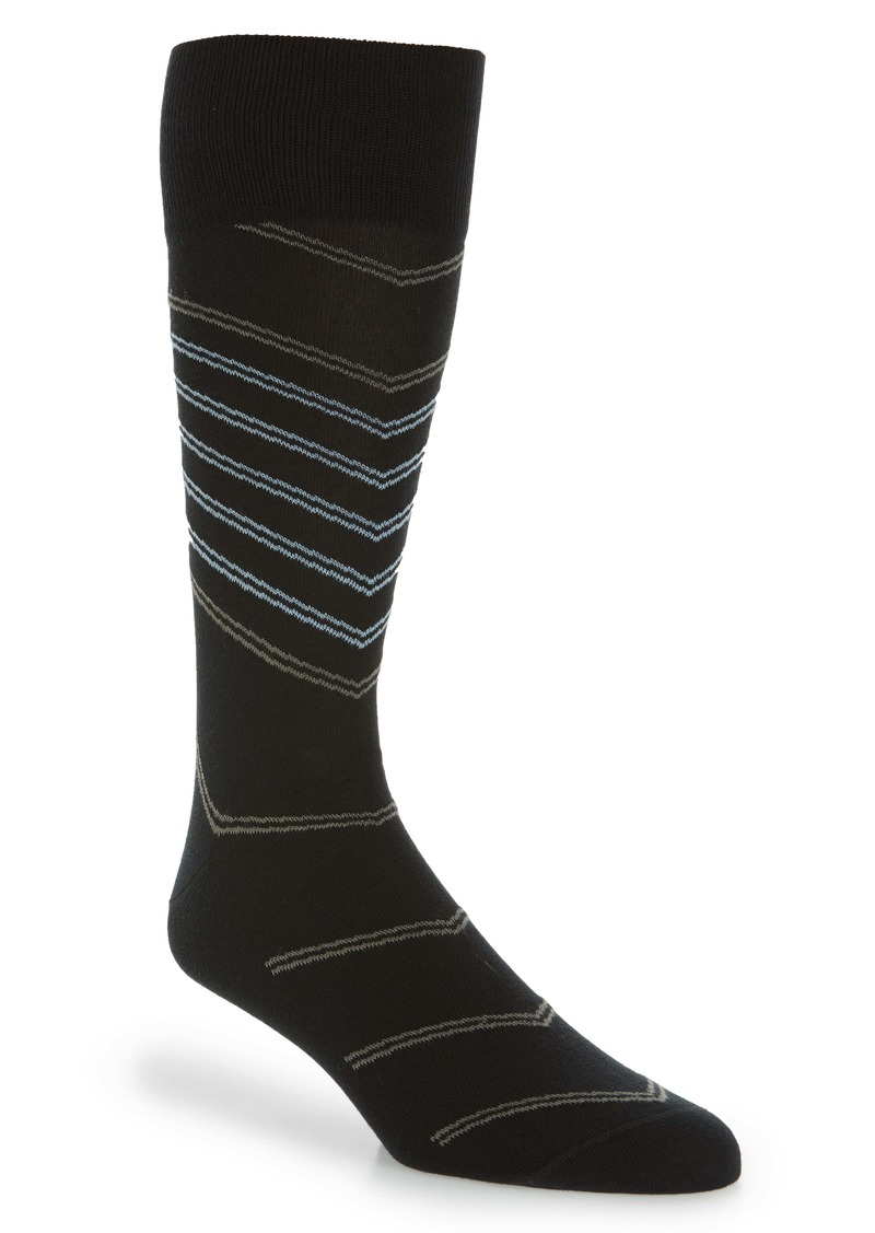 Nordstrom Signature Diagonal Pinstripe Cotton Blend Socks