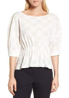 Nordstrom Signature Embroidered Tucked Top