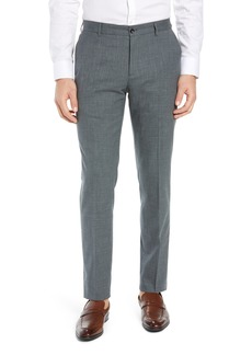 Nordstrom Signature Flat Front Stretch Solid Wool & Linen Trousers