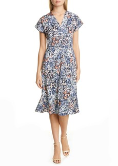 Nordstrom Signature Floral Stretch Silk A-Line Dress