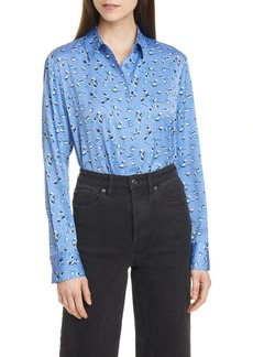 Nordstrom Signature Floral Stretch Silk Button-Up Shirt