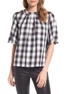 Nordstrom Signature Lace Back Plaid Top