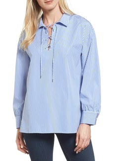 Nordstrom Signature Lace-Up Stripe Shirt