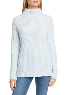 Nordstrom Signature Mix Stitch Funnel Neck Cashmere & Silk Sweater