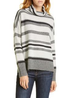 Nordstrom Signature Oversize Stripe Turtleneck Cashmere Sweater