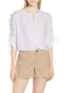 Nordstrom Signature Pull Tie Sleeve Stripe Cotton Blouse