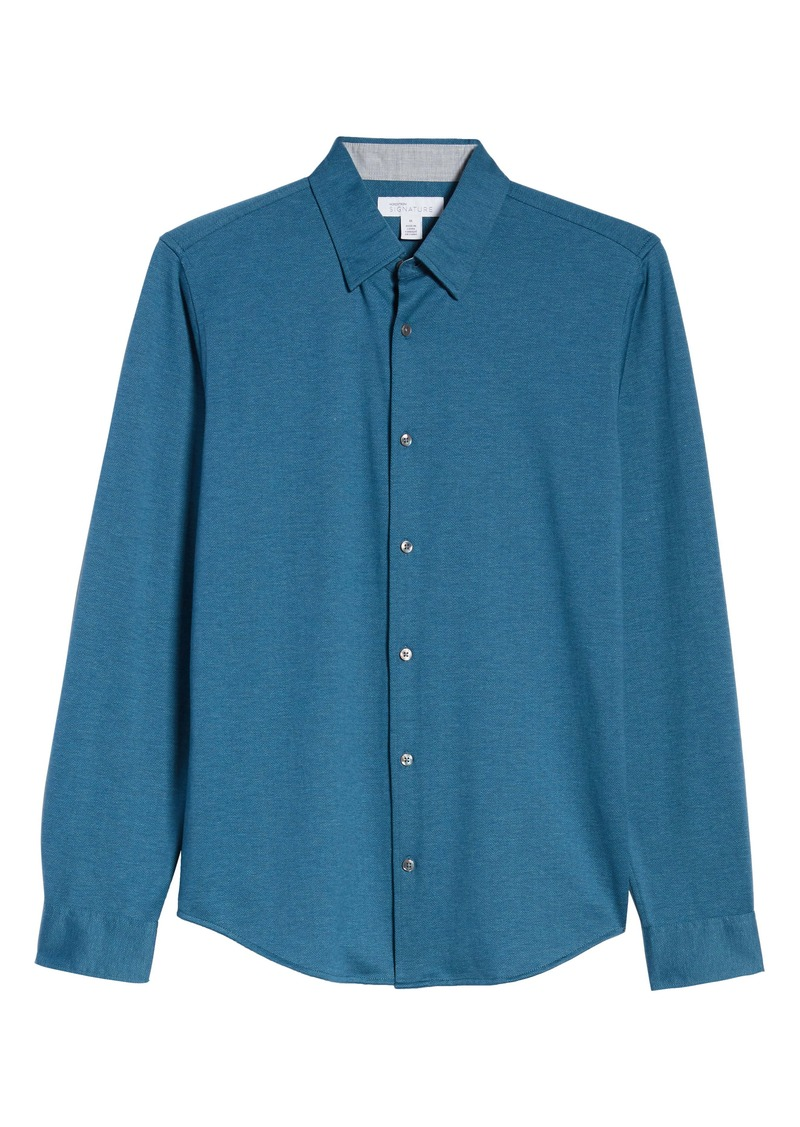 Nordstrom Signature Regular Fit Knit Cotton Button-Up Shirt