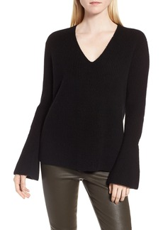 Nordstrom Signature Rib Knit Cashmere Bell Sleeve Sweater