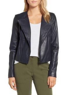 Nordstrom Signature Ruffle Back Leather Jacket