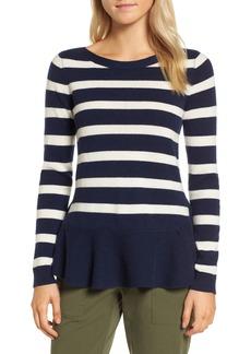 Nordstrom Signature Ruffle Stripe Cashmere Sweater