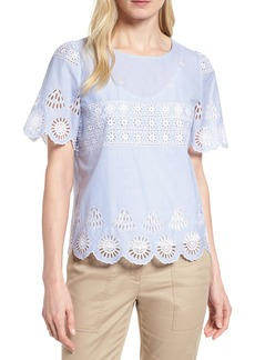 Nordstrom Signature Short Sleeve Eyelet Top