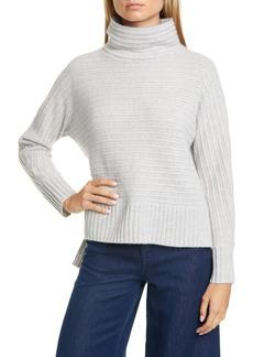 Nordstrom Signature Texture Stripe Turtleneck Cashmere Sweater