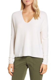 Nordstrom Signature Textured Cashmere V-Neck Sweater