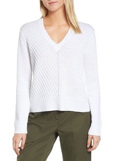 Nordstrom Signature Textured Front V-Neck Sweater