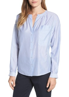 Nordstrom Signature Tie Back Stripe Cotton Blouse