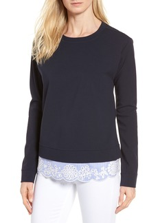 Nordstrom Signature Woven Inset Ponte Knit Sweatshirt