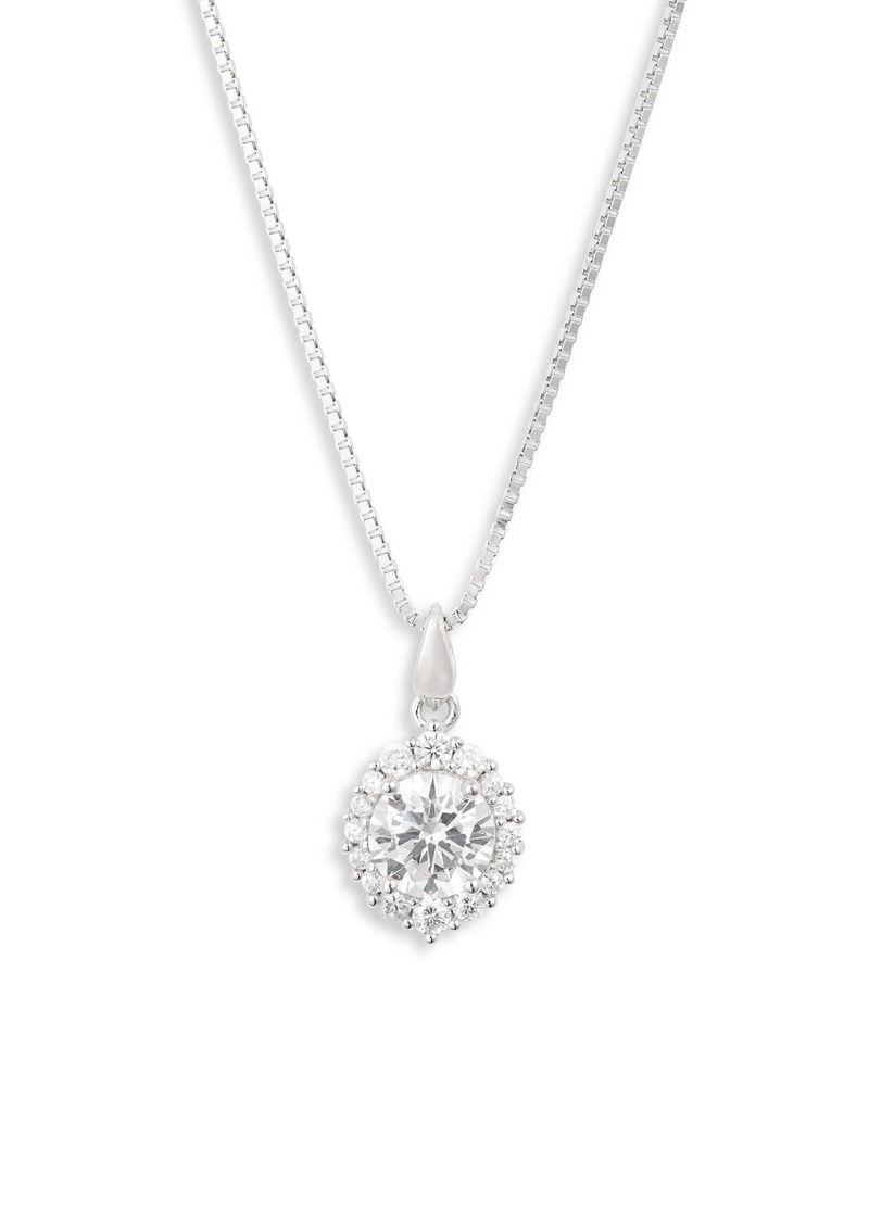 Nordstrom Small Halo Cubic Zirconia Pendant Necklace