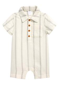 Nordstrom Stripe Henley Organic Cotton Romper (Baby)