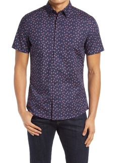 Nordstrom Trim Fit Non-Iron Floral Dot Short Sleeve Button-Up Shirt