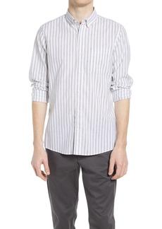 Nordstrom Trim Fit Stripe Stretch Cotton & Linen Button-Down Shirt
