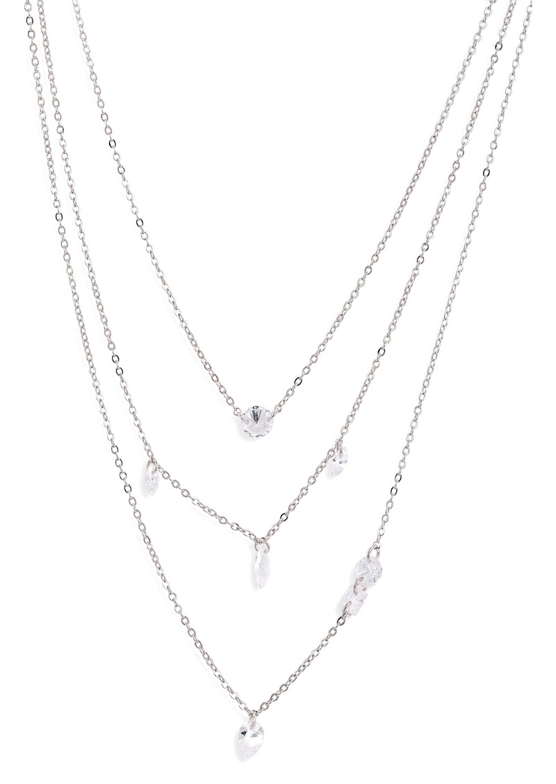 Nordstrom Triple Strand Floating Cubic Zirconia Necklace