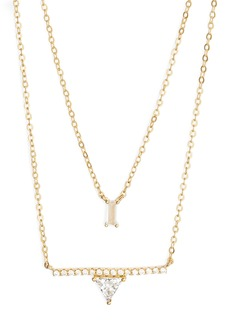 Nordstrom Two-Tier Baguette & Trillium Cubic Zirconia Pendant Necklace