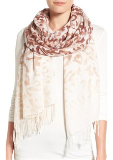 Nordstrom Washed Leopard Print Wool & Cashmere Scarf