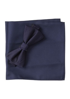 Nordstrom Solid Satin Combo Bow-Tie & Pocket Square Set