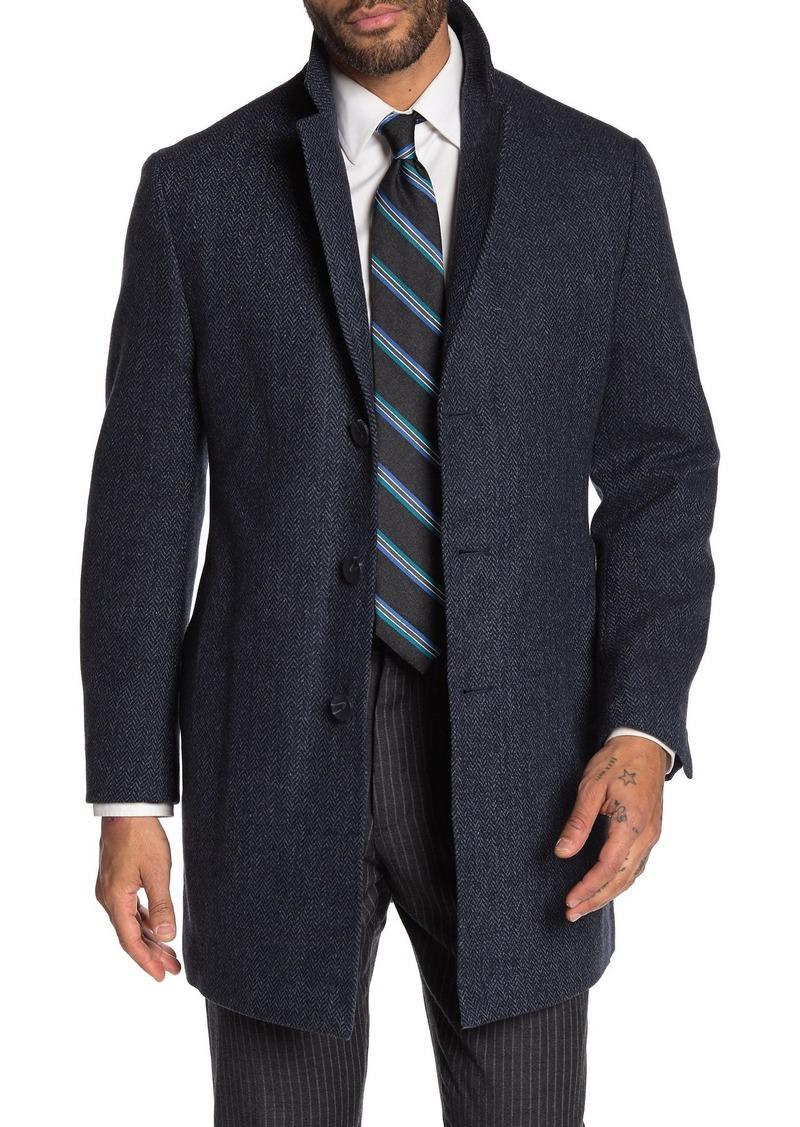 Nordstrom Taylor Notch Collar Chevron Trim Fit Coat