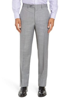 Nordstrom Torino Flat Front Solid Wool Trousers