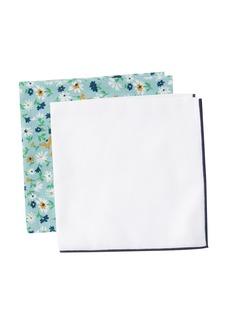 Nordstrom Waterford Floral & Solid Pocket Squares - Set of 2