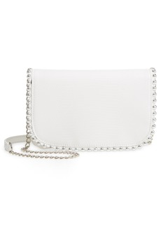 Women's Nordstrom Bianca Ball Chain Trim Leather Wallet On A Chain - White