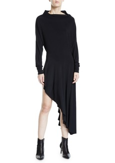 Norma Kamali All-in-One Long-Sleeve Stretch Jersey Asymmetrical Dress