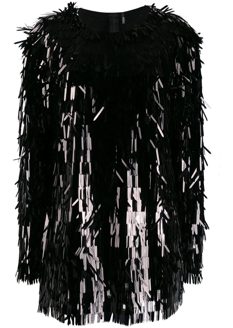 Norma Kamali all-over sequin fringe top