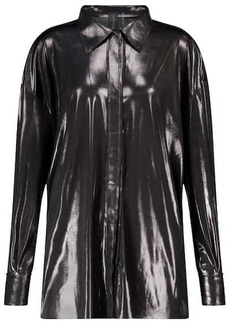 Norma Kamali BF NK stretch-lamé shirt